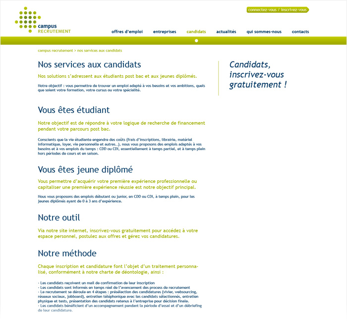 Site web de Campus Recrutement
