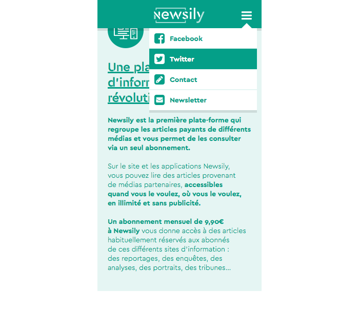 Site web mobile vitrine de Newsily